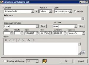 GoldMine CRM logging calls